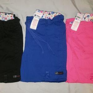 3 Koi Scrub Pants Black Blue Pink size XSmall Tall